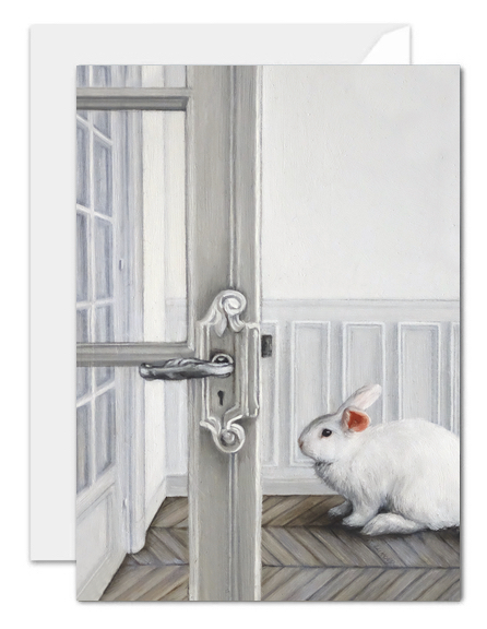 deram of the white rabbit greeting card