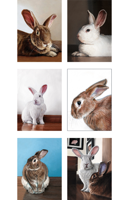 Set of six different Portrait rabbit greeting cards by Rebecca Luncan