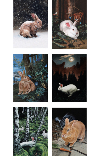 Set of six different Adventure rabbit greeting cards by Rebecca Luncan