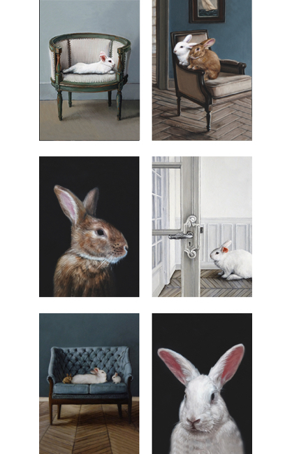 Set of six different Lifestyle rabbit greeting cards