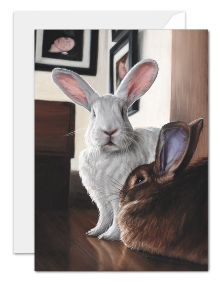 studio rabbits greeting card