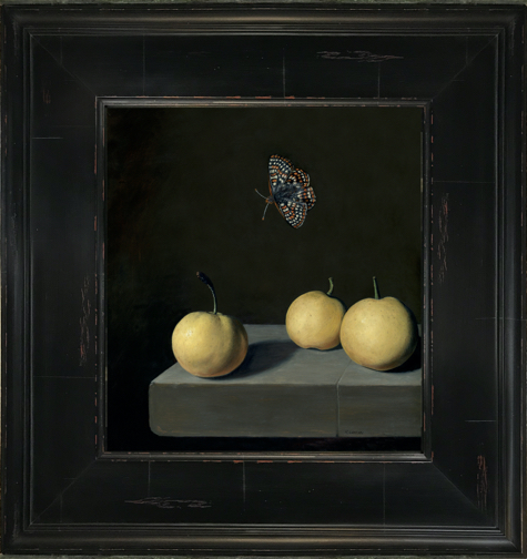 Checkerspot butterfly over Asian pear (nashi) still life painting by Rebecca Luncan