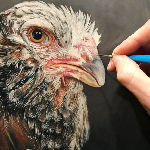 Hera russian orloff chicken in progress oil painting by Rebecca Luncan