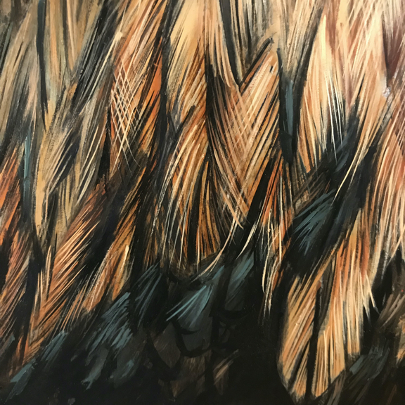 Roostr painting detail of feathers by Rebecca Luncan