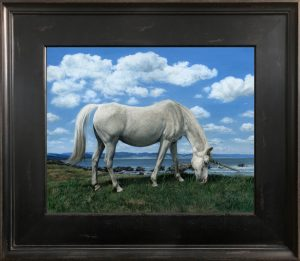 oil painting of Polish Arabian horse as unicorn by Rebecca Luncan