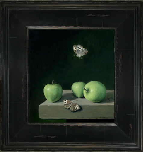 "Wood Nmyphs and Green Apples, oil on copper, 10"" x 9"""