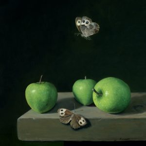 photo realistic still life paitning with fruit and insects by Rebecca Luncan