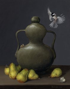 Miniature still life oil painting on aluminum of black capped chickadee, Chinese porcelain and bartlet pears by Rebecca Luncan
