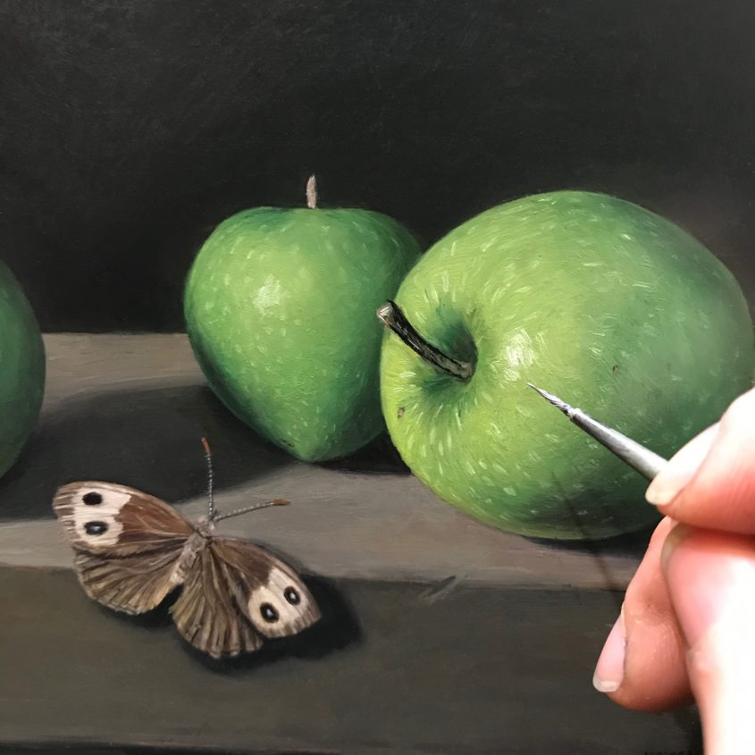 contemporary still life oil painting in progress by Rebecca Luncan
