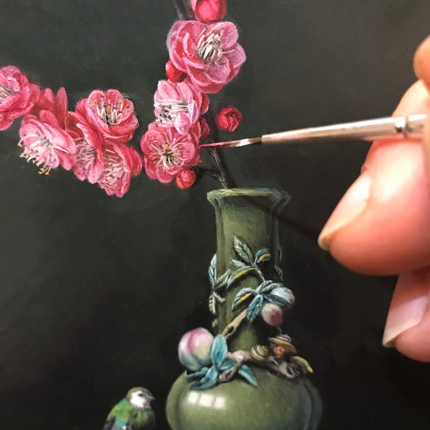 Still life painting in progress of peach blossoms and vase from the Seattle Art Museum collection by Rebecca Luncan