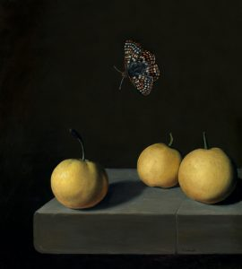Checkerspot butterfly over asian pears (nashi) still life oil painting by Rebecca Luncan