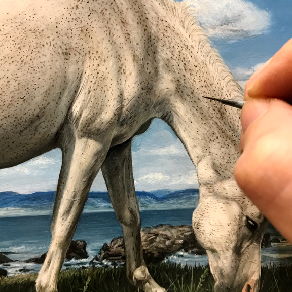 in progress oil painting of Polish Arabian horse as unicorn by Rebecca Luncan