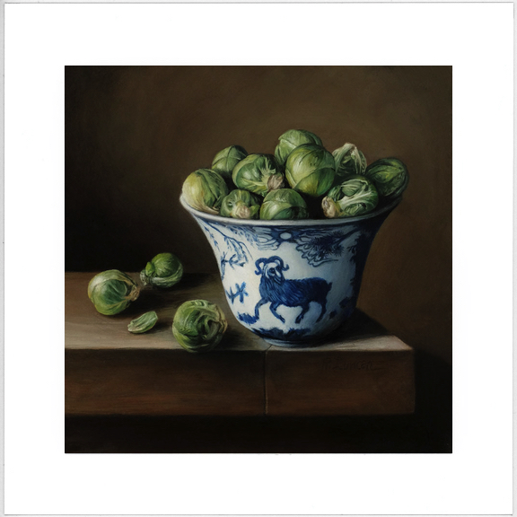 Brussels Sprouts and Porcelain Bowl limited edition print from still life oil painting on copper by Rebecca Luncan