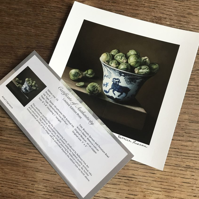 Brussels Sprouts and Porcelain Bowl limited edition print with certificate of authenticity from still life oil painting on copper by Rebecca Luncan