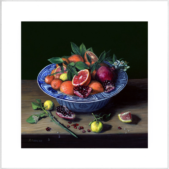 oranges and Pomegranate in Chinese Porcelain limited edition print from still life painting by Rebecca Luncan