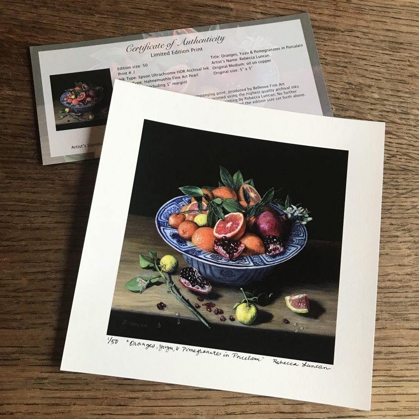 oranges and Pomegranate in Chinese Porcelain limited edition print with certificate of authenticity  from still life painting by Rebecca Luncan