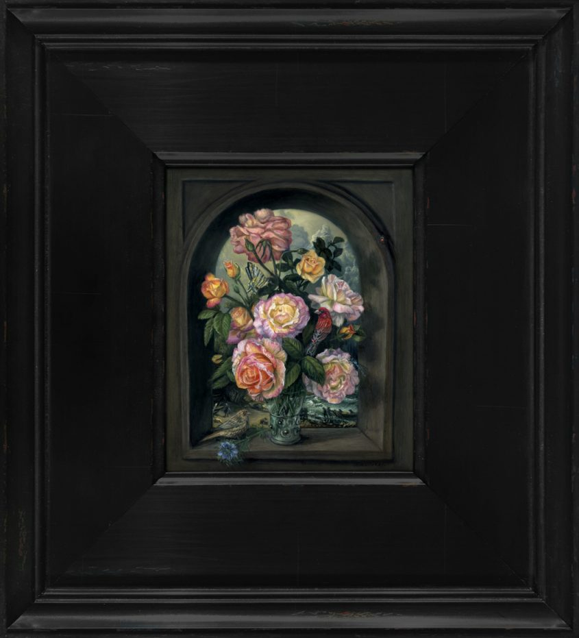 miniature still life oil painting of peace roses with male and female house finch by Rebecca Luncan