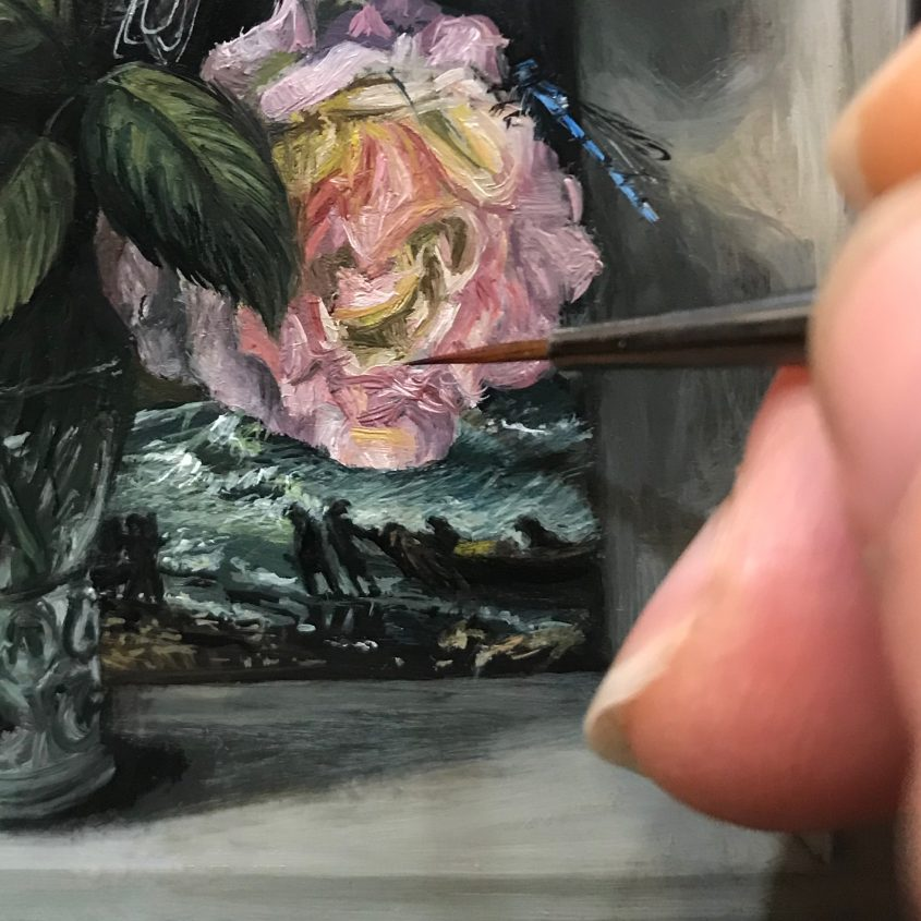 detail of miniature painting with peace roses and bierstade painting reproduced in background
