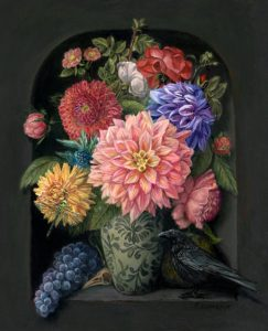 floral still life, botanical painting with Dahlia's and crow by Rebecca Luncan