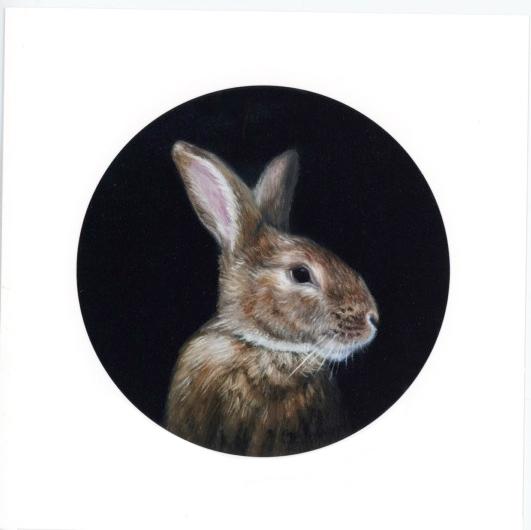 Portrait of a Gentleman portrait paitning of brown rabbit by Rebecca Luncan