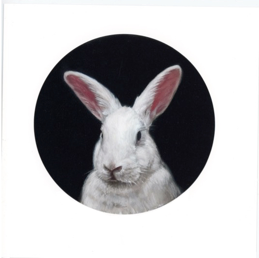 Portrait of a Lady portrait paitning of white rabbit by Rebecca Luncan