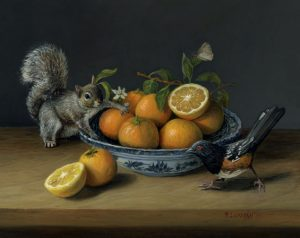 Shenanigans, miniature still life painting with bird, squirrel and fruit by Rebecca Luncan