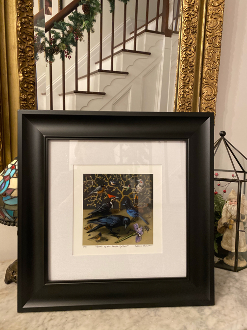 Limited edition print of birds of the pacific northwest framed. Original artwork by Seattle artist Rebecca Luncan