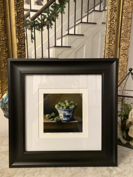 Limited edition print from still life of brussles sprouts in porcelain framed. Original artwork by Seattle artist Rebecca Luncan