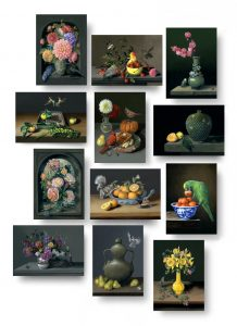 Set of 12 Flights of Fancy still life paitning greeting cards by Rebecca Luncan