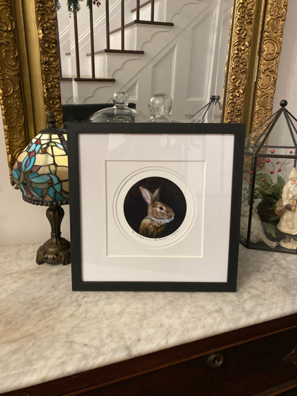 limited edition print of Portrait of a Gentleman portrait paitning of brown rabbit by Rebecca Luncan