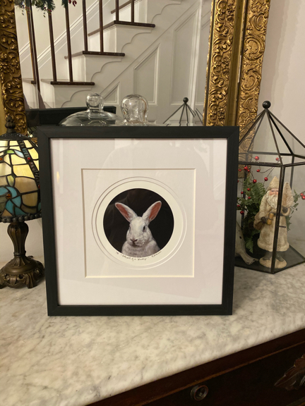 limited edition print of Portrait of a Lady portrait paitning of white rabbit by Rebecca Luncan