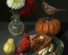 still life oil painting classical technique with waffles and cardinals by Rebecca Luncan