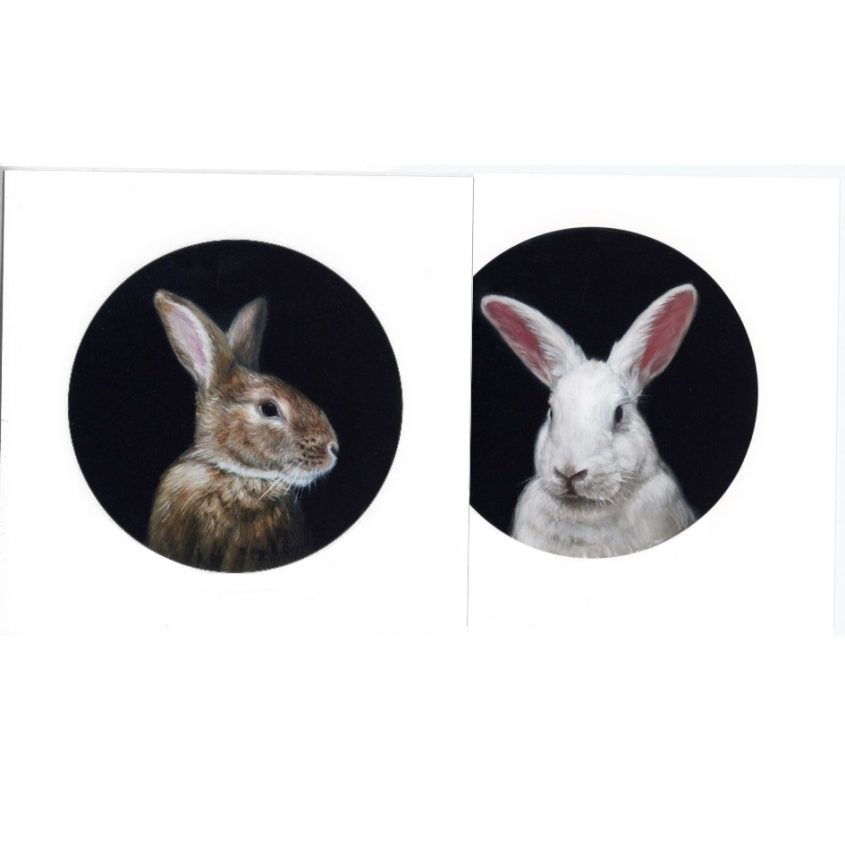 pair of limited edition prints from rabbit portrait paintings by Rebecca Luncan