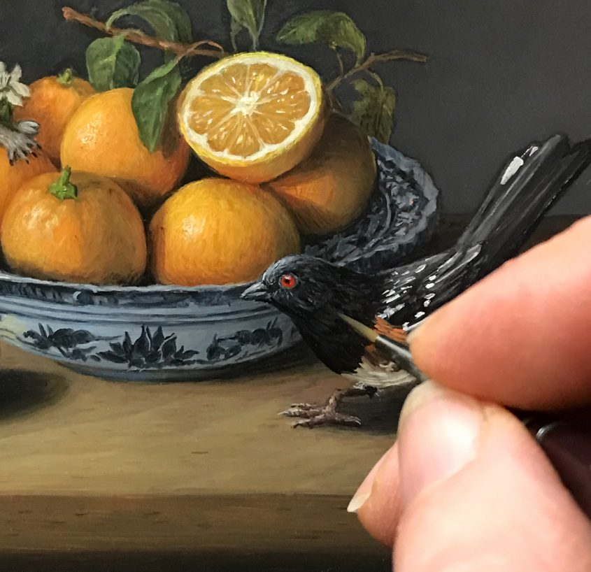 Shenanigans, miniature still life painting with bird, squirrel and fruit by Rebecca Luncan in progress