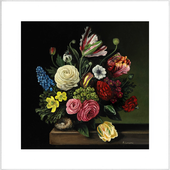 Limited edition print from original floral patinting by Rebecca Luncan