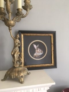 Framed limited edition print of brown rabbit by rebecca luncan