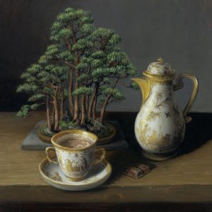 still life painting with bonsai and Messian porcelain chocolate cup and chocolate pot. Cup of hot chocolate by Rebecca Luncan