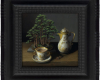 still life painting of bonsai and Messian porcelain chocolate cup and chocolate pot. Cup of hot chocolate by Rebecca Luncan with dutch ripple frame