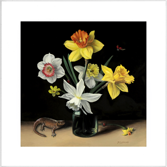 seven varieties of daffodil still life painting by Rebecca Luncan