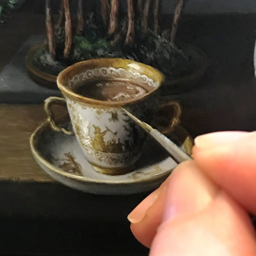still life painting detail with Messian porcelain chocolate cup. Cup of hot chocolate by Rebecca Luncan