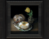 still life painting with bread and cheese, tulip and robbin by Rebecca Luncan oil painting on aluminum