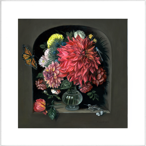 Limited edition print Vanitas with Flowers and Butterflies oil painting by Rebecca Luncan