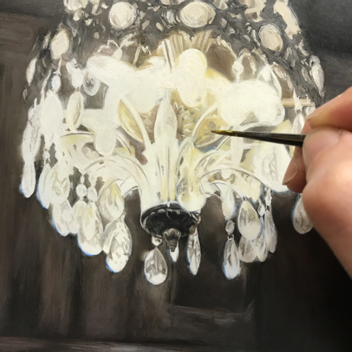 chandelier detail, representational oil painting by seattle artist Rebecca Luncan