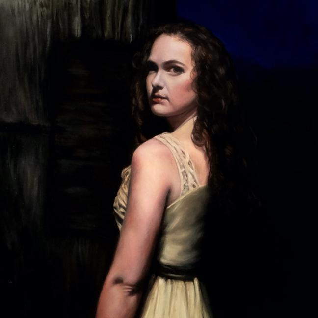 figurative portrait detail, oil on aluminum by Rebecca Luncan