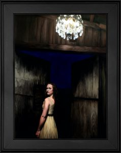 """""""Silver Chandelier"""" figurative oil painting by Seattle artist Rebecca Luncan, oil on aluminum"""