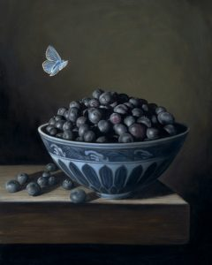 Still life painting of blueberries in porcelain bowl with blue butterfly by Rebecca Luncan