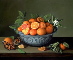 Bowl of Oranges and Monarch Butterflies realist still life painting by Rebecca Luncan