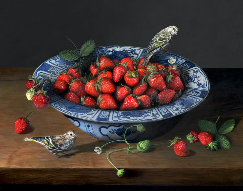 Strawberries and songbirds, still life oil painting by Rebecca Luncan