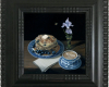 Miniature still life oil painting, blueberry pancakes and coffee by Rebecca Luncan