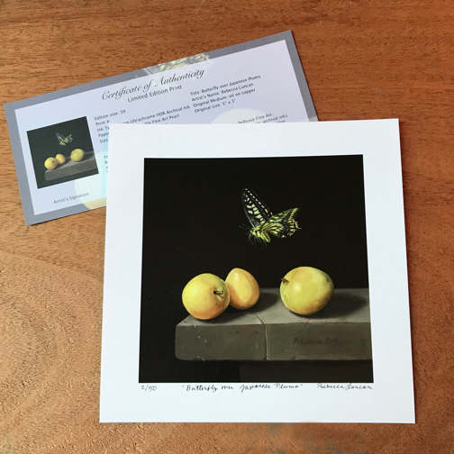 Limited edition print plums and swallowtail butterfly oil painting by Rebecca Luncan with certificate of authenticity